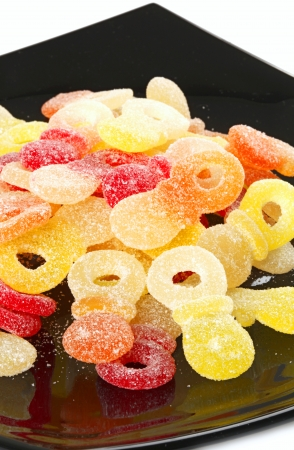 Sweet mixed colorful jelly candies photo