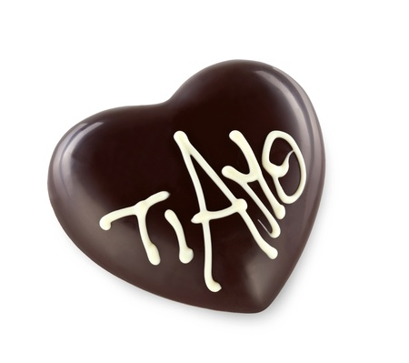 Chocolate heart with the word  I LOVE YOU in italian photo