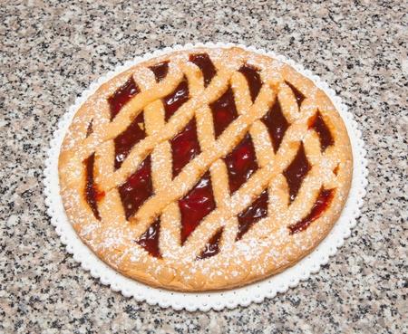 Sweet tart with cherry jam. Stock Photo - 19113043