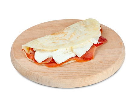 Italian piadina with ham and mozzarella cheese  photo