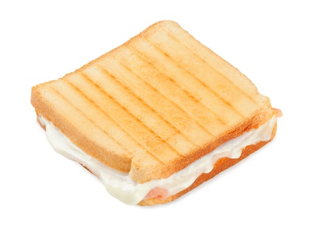 Toasted sandwich with ham and cheese on white background photo