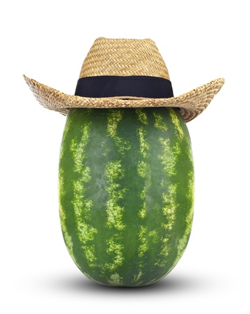 Watermelon with hat on white background