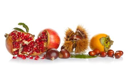 frutas secas: Las frutas de oto�o en el fondo blanco