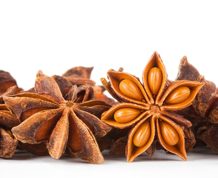 anice: Stars anise on white background