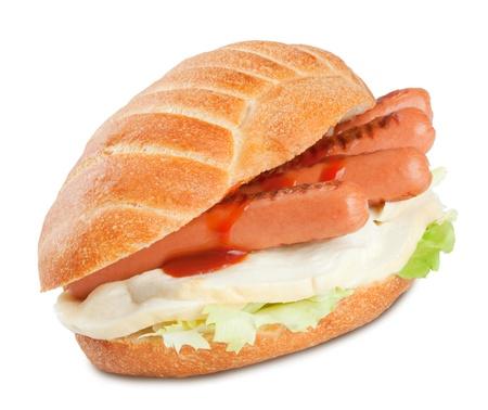 panino: Sandwich con salchichas ensalada de tomate y queso mozzarella.