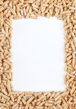 co2 neutral: Wood pellets forming a frame Stock Photo