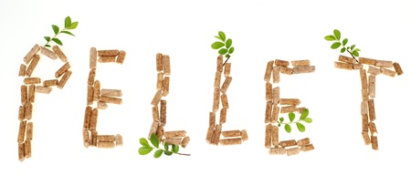 Text pellet made by wood pellets on white background
