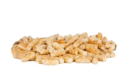 Wood pellets on white background photo