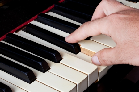 hymnal: Piano keyboard made of ivory with hands.
