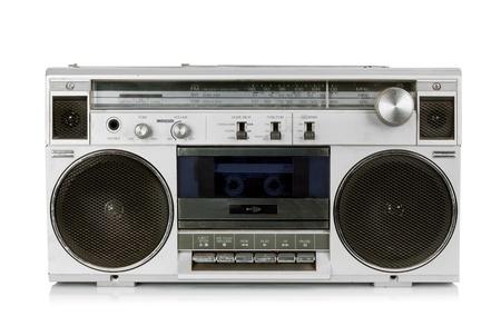 blaster: Portable vintage radio cassette recorder isolated on white