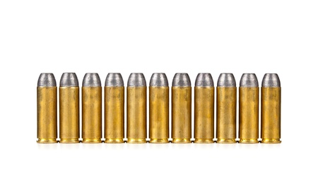 Row of bullets on white background photo
