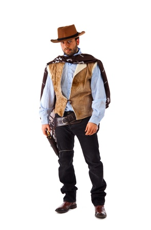 botas vaqueras: Pistolero en el viejo oeste salvaje en el fondo blanco. Foto de archivo