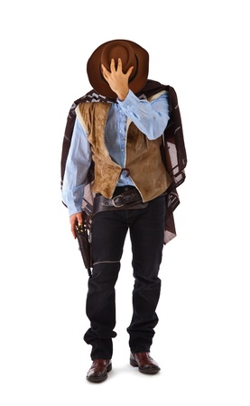 Gunman in the old wild west on white background. photo