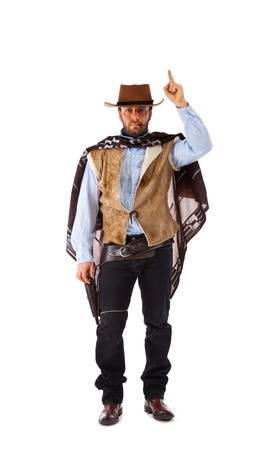 holster: Pistolero en el viejo oeste salvaje en el fondo blanco. Foto de archivo