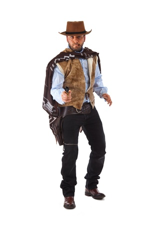 revolver: Gunman in the old wild west on white background. Stock Photo