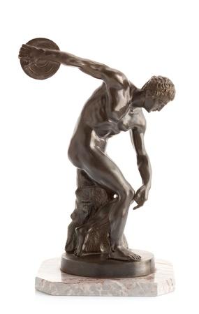 白い背景の上の円盤投げの選手 写真素材