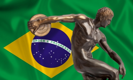 Discus thrower on Brazilian flag photo
