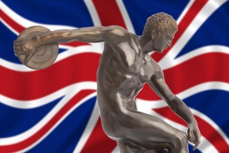Discus thrower on english flag Stock Photo - 20220936