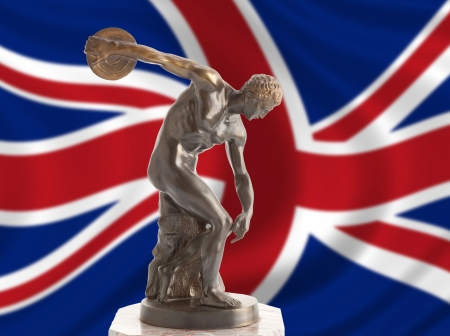 Discus thrower on english flag photo