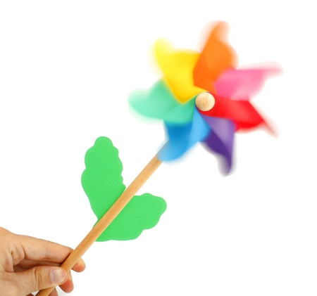 Colorful pinwheel isolated on white background photo