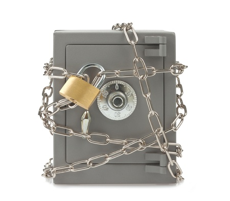 Metal safe with chain and padlock photo