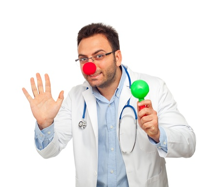 adams: Patch adams concept with young doctor isolated on white background