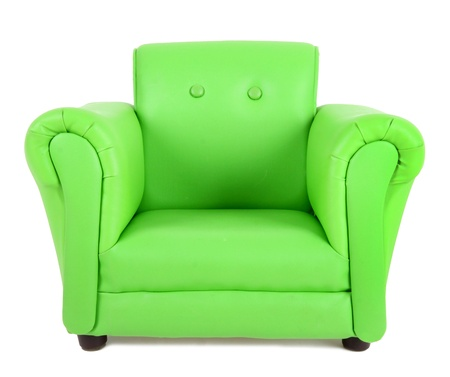 Green armchair isolated on white background photo