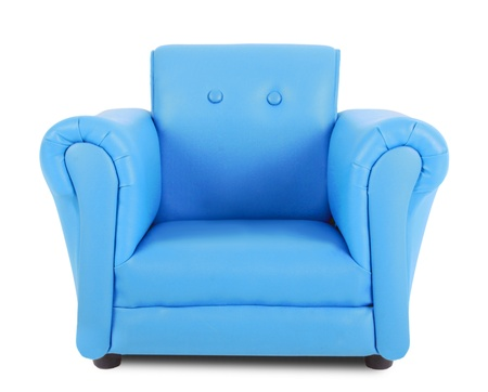 leatherette: Blue armchair isolated on white background Stock Photo