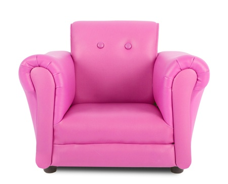 Pink armchair isolated on white background photo