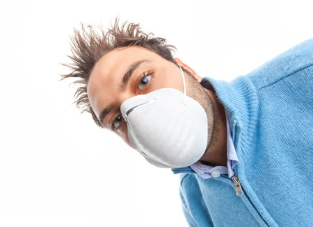 Young boy with mask respiratory protection on white background photo