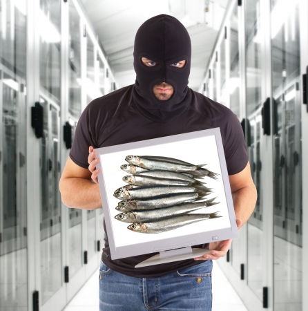 Thief with monitor showing fishes image photo