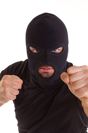 Criminal with balaclava mask photo