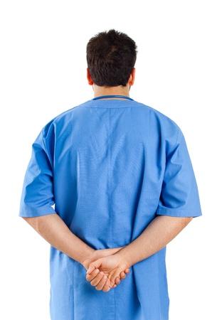 Male nurse turned on white background Stock Photo - 20596510