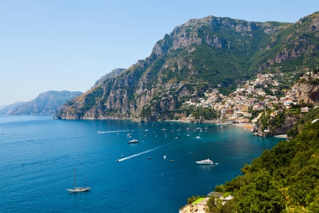 positano: View of the town of Positano Stock Photo