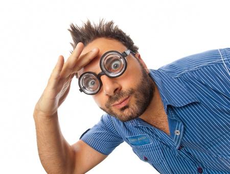 눈 안경 놀란 된 표정으로 어린 소년