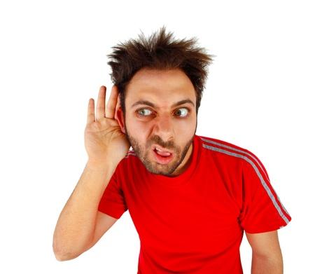 Fiatal fiú hallássérült fehér alapon Stock fotó
