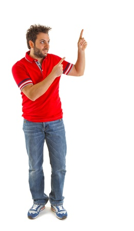 Man pointing with red t-shirt on white background photo