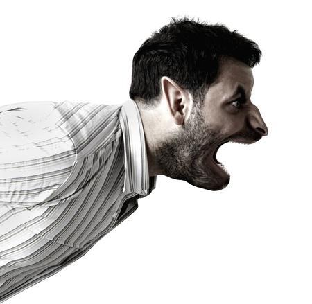 Humanoid szörny sikoltozó fehér alapon Stock fotó