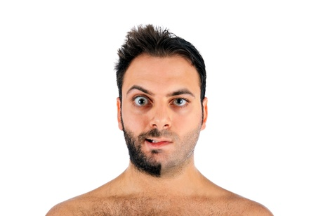 dual: A young man with a beard on half of the face on white background Stock Photo