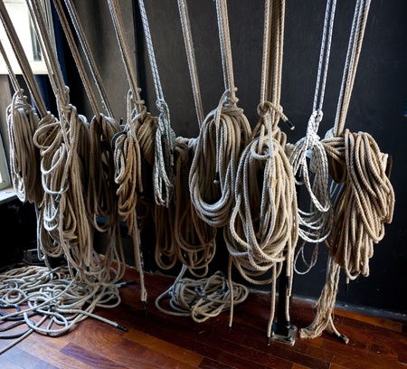 pulleys: Support cables for the scenes of the theater. Stock Photo