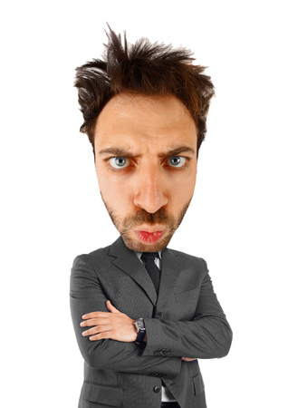 Handsome businessman with big head on white background photo