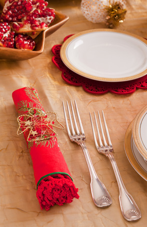 Silverware and napkin for the Christmas table photo