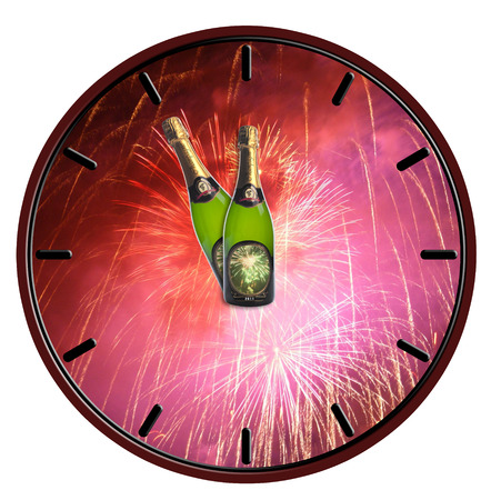 Clock with bottle of champagne waiting for midnight on white background photo