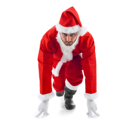 Santa Claus in the starting position on white background.