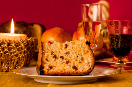 Panettone, traditional Italian cake with christmas decorations photo