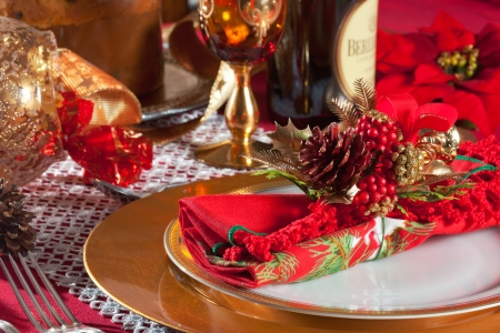 Decorated Christmas Dinner Table with studio lighting photo