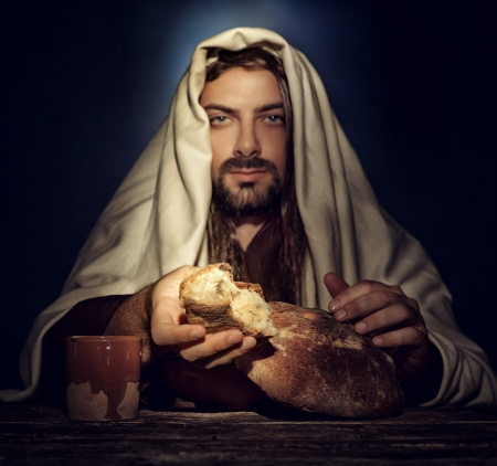 jesus word: The Last Supper, Jesus breaks the bread. Stock Photo