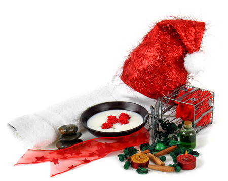 Various objects that represent the spa Christmas photo