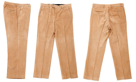 corduroy: Pantaloni di velluto su sfondo bianco