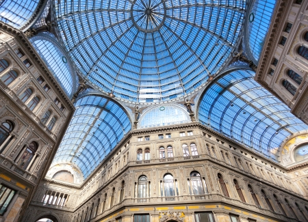 cornerstone: Umberto I gallery in the city of Naples, italy Editorial